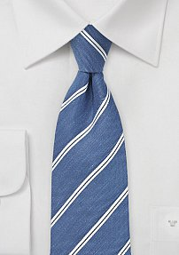 Linen Striped Tie in Indigo