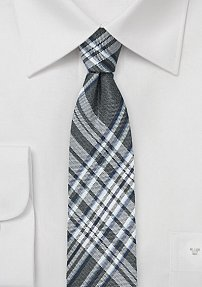 Skinny Plaid Tie in Silver and Gray