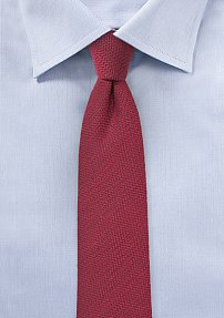 Micro Herringbone Check Wool Tie in Claret