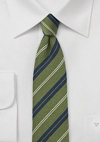Pesto Green and Navy Striped Wool Tie