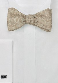 Floral Lace Bow Tie in Champagne