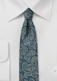 Teal Blue Skinny Tie with Gray Paisley