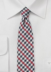 Gray, Navy, and Red Gingham Check Tie
