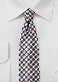 Autumn Gingham Check Tie in Skinny Cut