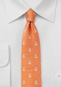 Tangerine Skinny Tie with Anchors