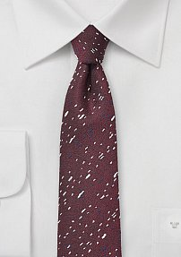Trendy Skinny Tie in Port Red with Speckled Texture