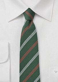 Skinny Wool Tie in Hunter Green, Gray, and Orange