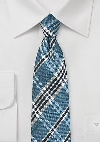 Textured Tartan Plaid Tie in Indigo