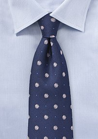 Designer Floral Tie in Navy and Pink