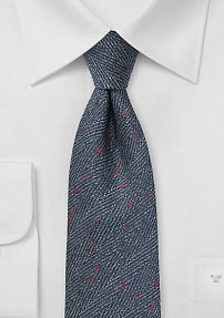 Herringbone Mens Tie in Denim Blue