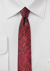 Super Slim Designer Tie with Red and Blue Texture