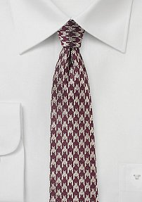 Dark Red and Silver Houndstooth Check Tie