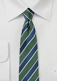 Awning Stripe Skinny Tie in Green and Navy