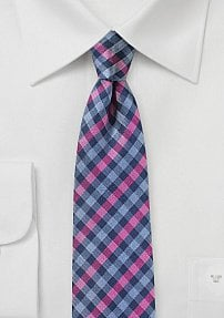 Colorful Skinny Gingham Check Tie