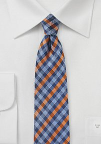 Summer Gingham Tie in Orange and Blue