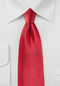 Satin Silk Tie in Tomato Red