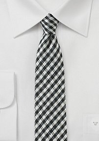 Black and White Skinny Check Tie
