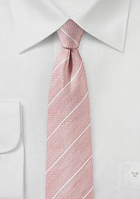 Linen Striped Skinny Tie in Blush Pink