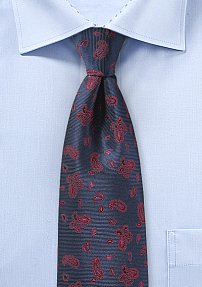 Repp Textured Paisley Tie in Navy and Red