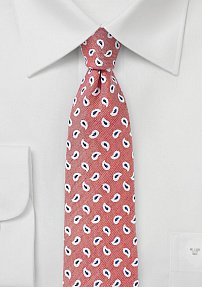 Skinny Linen Paisley Tie in Coral Red