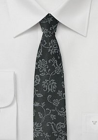 Black Skinny Tie with Floral Design