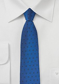 Royal Blue Silk Tie with Navy Square Design