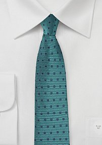 Teal and Navy Square Design Necktie