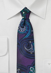 Psychedelic Paisley Design Tie in Grape, Teal, and Royal
