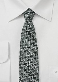 Gray Mens Tie with Herringbone Design