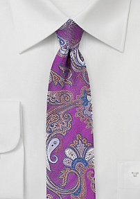 Skinny Paisley Tie in Orchid and Blush