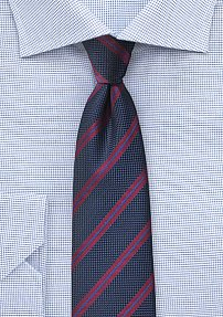 Midnight Blue and Wine Red Striped Tie