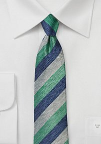 Silk Necktie with Stripes in Mint, Blue, and Gray