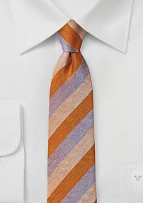 Orange and Lavender Striped Silk Tie