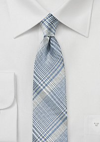 Silver Silk Tie with Glen Check Plaid in Light Blue