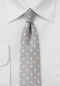 Warm Taupe Mens Tie with Polka Dots