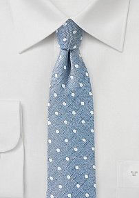 Faded Denim Blue Tie with Polka Dots