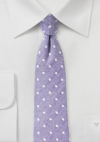 Lilac Orchid Necktie with Polka Dots