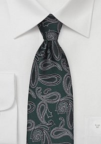 Hunter Green and Midnight Blue Paisley Tie