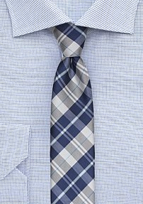 Tartan Plaid Designer Tie in Classic Blue and Silver