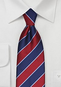 Preppy Striped Summer Tie in Navy and Cherry Red