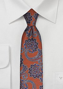 Trendy Skinny Paisley Tie in Copper