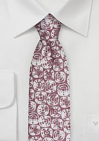 Washed Textured Linen Tie in Red