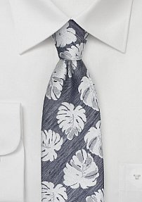 Gray Linen Summer Tie with Tropical Leaves in Silver