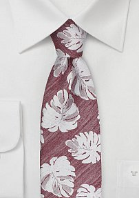 Tropical Leaf Designer Tie in Red