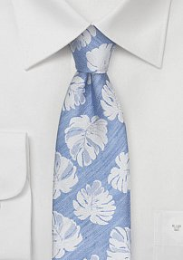 Powder Blue Mens Tie with Large Tropical Leaves