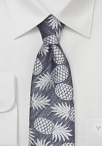 Washed Denim Mens Tie with Woven Pineapple Design