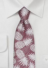 Pineapple Patterned Summer Tie in Faded Rose Red