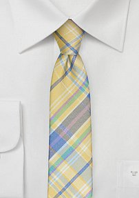 Madras Skinny Silk Tie in Yellow and Blue