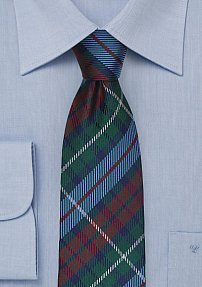 Unique Tartan Plaid Silk Tie in Hunter Green and Sky Blue