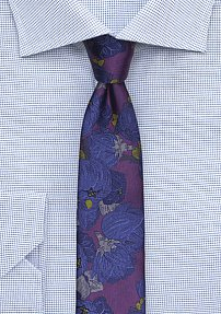 Retro Floral Designer Tie in Plum and Navy